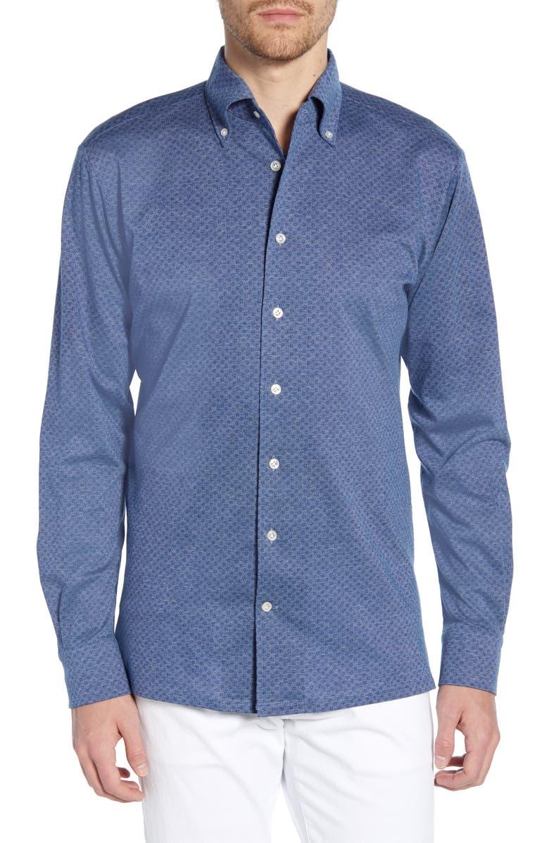 EMANUEL BERG Regular Fit Jersey Button-Down Shirt, Main, color, 400