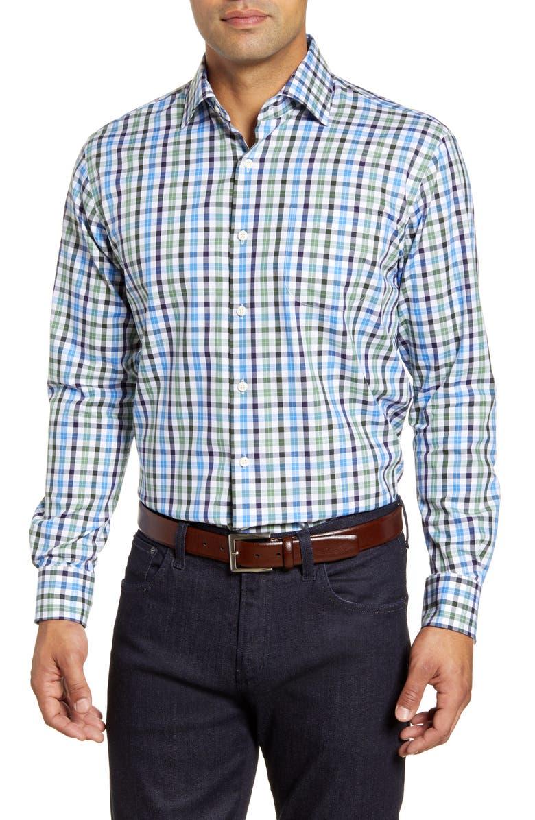 PETER MILLAR Ocracoke Check Button-Up Shirt, Main, color, GROVE