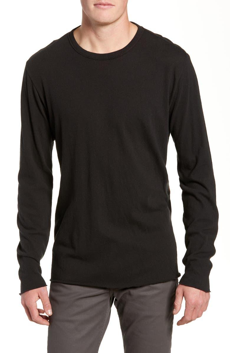 RAG & BONE Contrast Stitch Slim Fit Long Sleeve T-Shirt, Main, color, 001