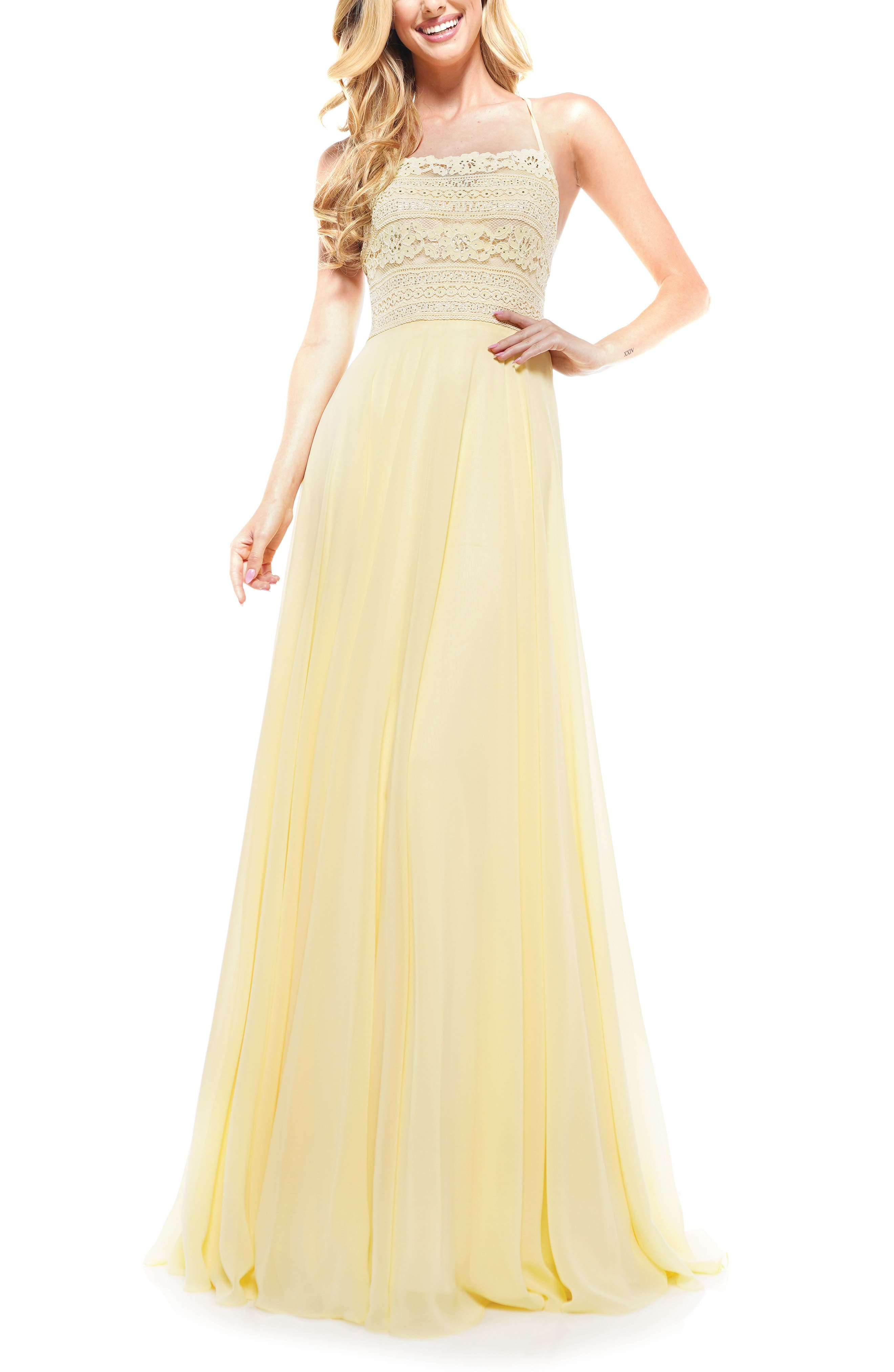 70s Prom, Formal, Evening, Party Dresses Womens Colors Dress Lace Strappy Back Chiffon Gown Size 16 - Yellow $262.00 AT vintagedancer.com