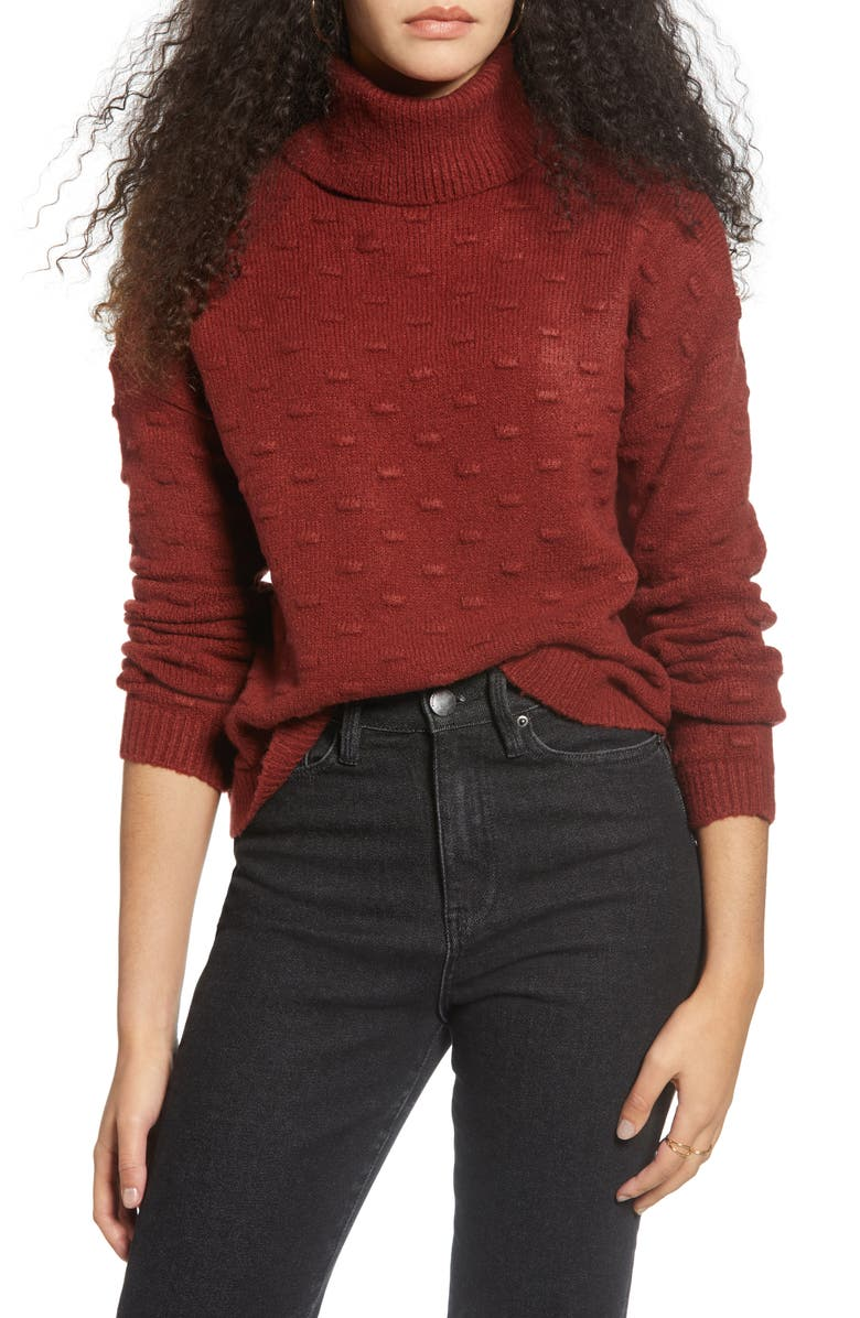 LOVE BY DESIGN Bobble Texture Sweater, Main, color, RUST
