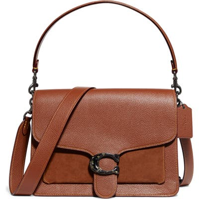 Coach Mixed Leather Top Handle Bag - Brown