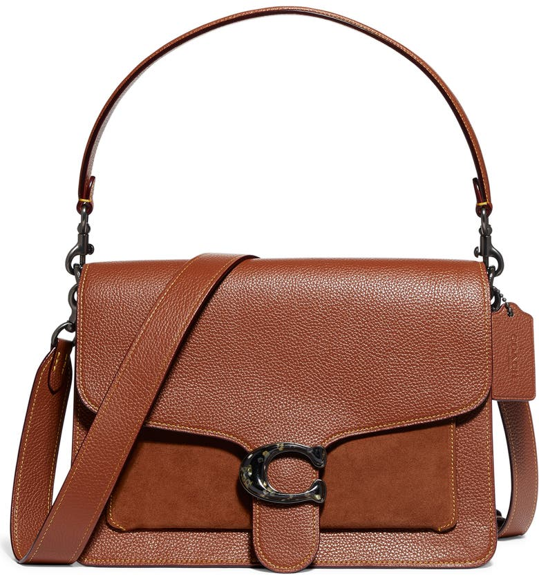 COACH Mixed Leather Top Handle Bag, Main, color, V5/ 1941 SADDLE
