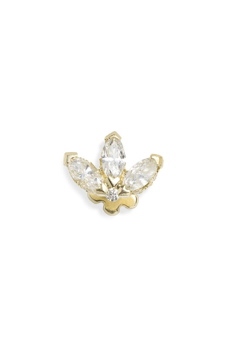 MARIA TASH Engraved Diamond Lotus Stud Earring, Main, color, YELLOW GOLD