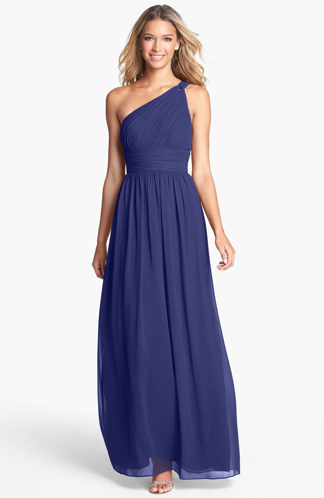,                             'Rachel' Ruched One-Shoulder Chiffon Gown,                             Main thumbnail 75, color,                             454
