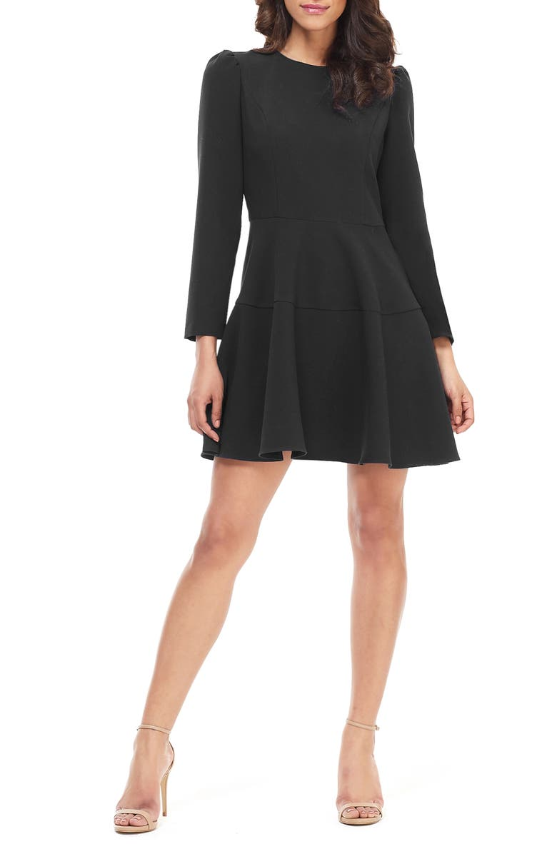 GAL MEETS GLAM COLLECTION Celeste Fit & Flare Dress, Main, color, BLACK