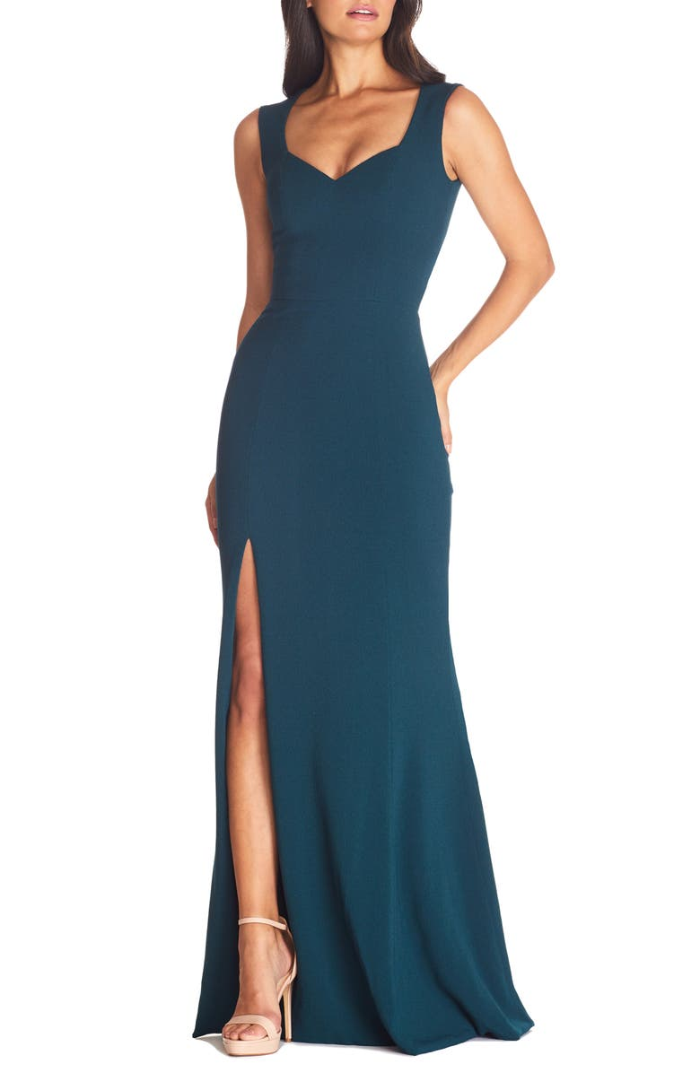 DRESS THE POPULATION Monroe Side Slit Gown, Main, color, PINE