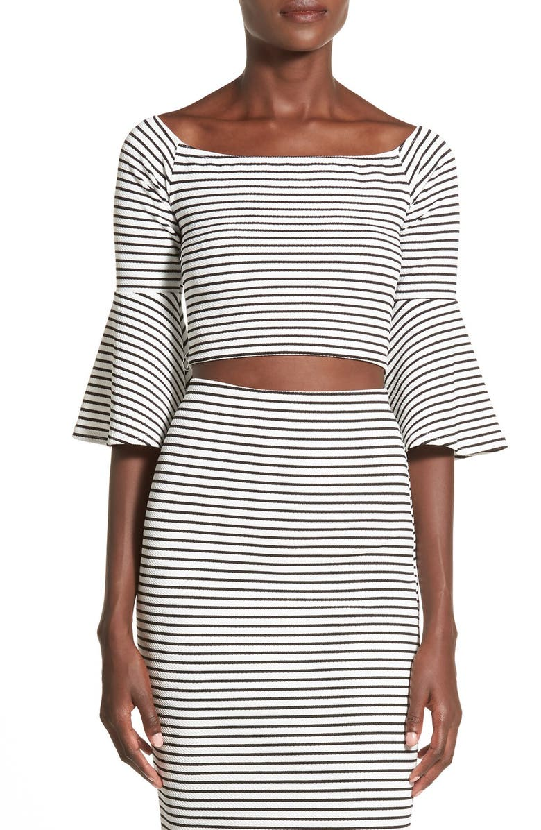 MISSGUIDED StripeBell Sleeve Crop Top, Main, color, 100