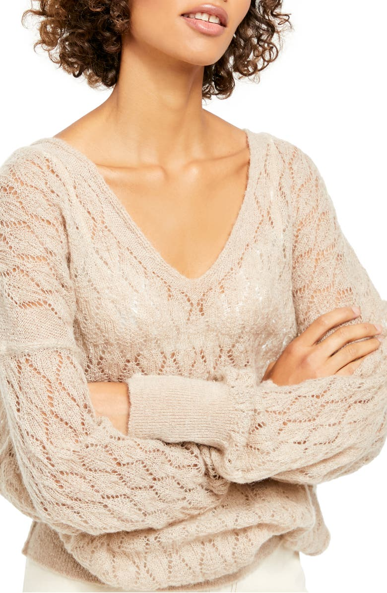 FREE PEOPLE Say Hello Open Knit Sweater, Main, color, TAUPE