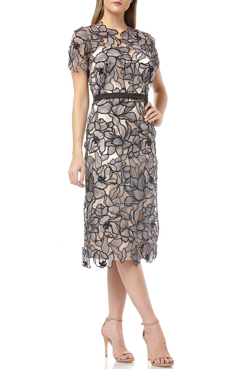JS COLLECTIONS Embroidered Lace Midi Dress, Main, color, BLACK BLUSH