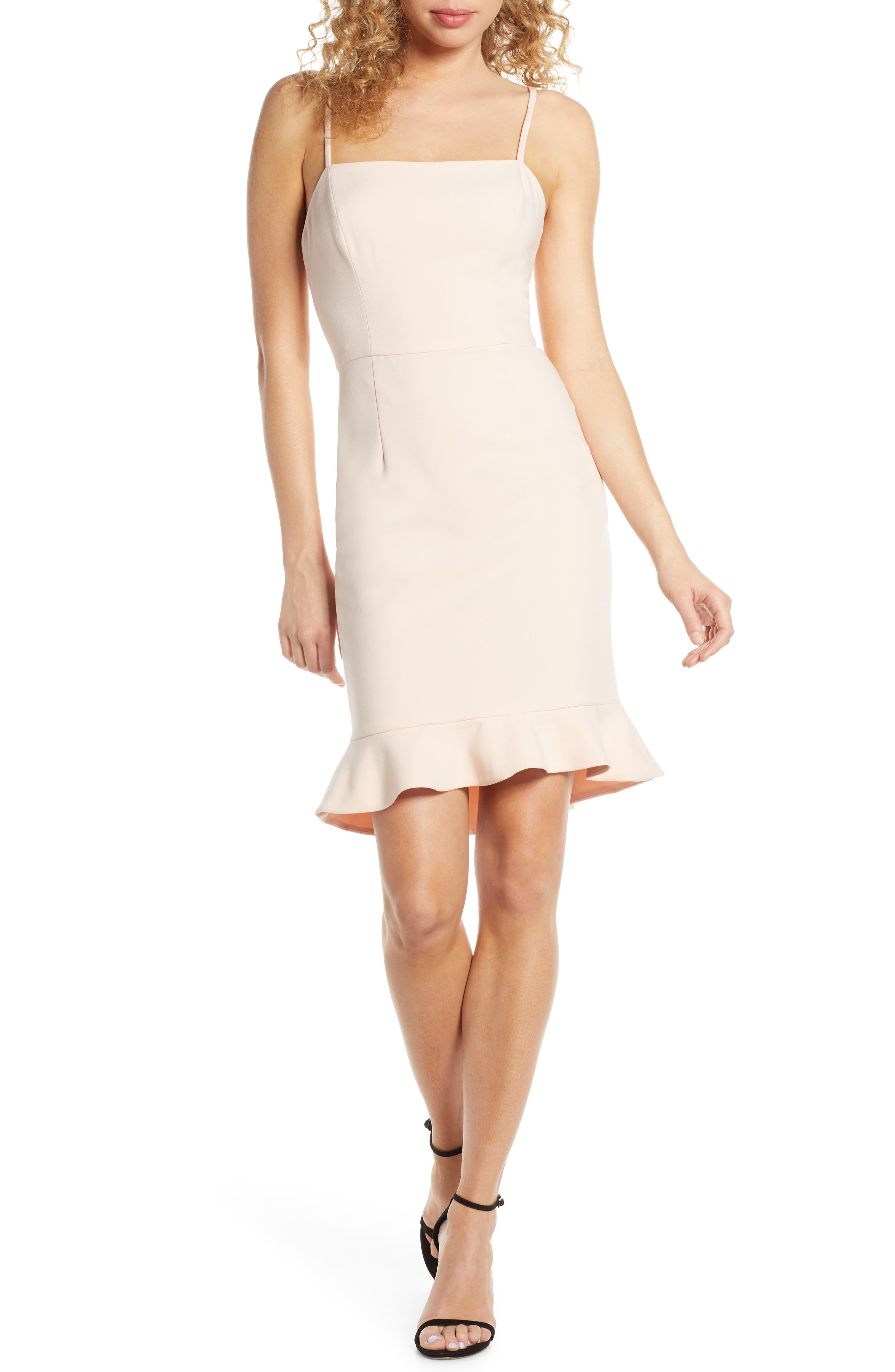 French Connection Whisper Sweetheart Dress, Pink