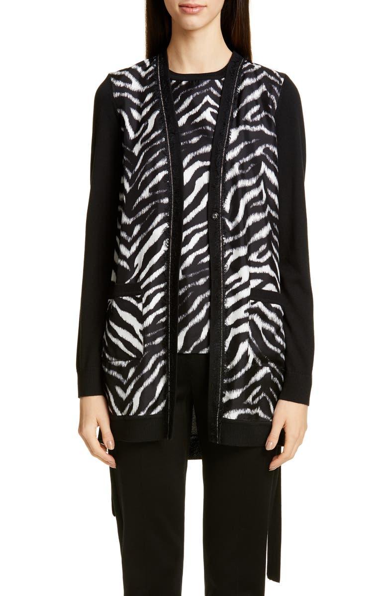 ST. JOHN COLLECTION Zebra Print Fine Gauge Jersey Cardigan, Main, color, CAVIAR/ BRIGHT WHITE