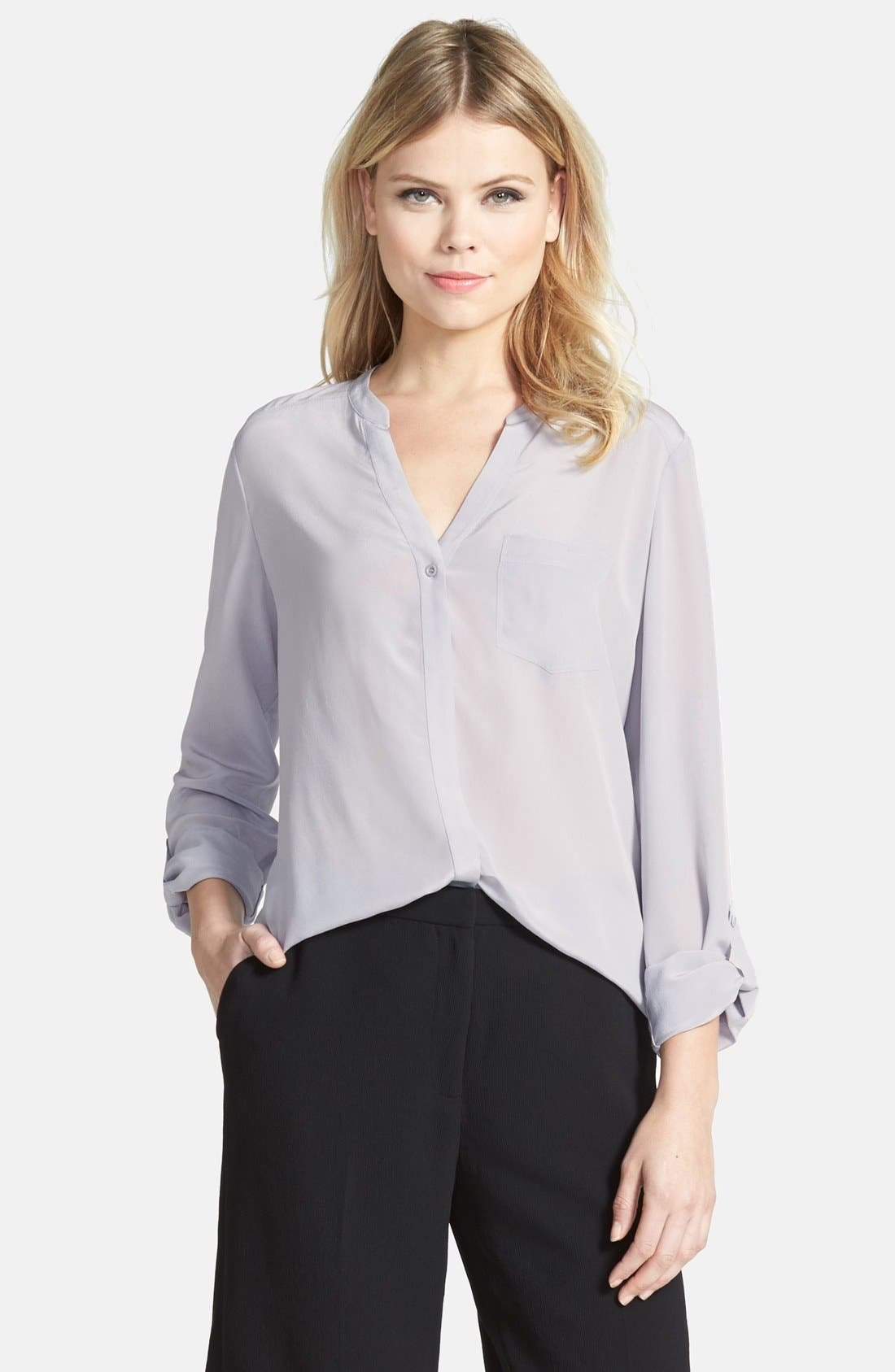 ,                             Collarless Silk Blouse,                             Main thumbnail 16, color,                             021