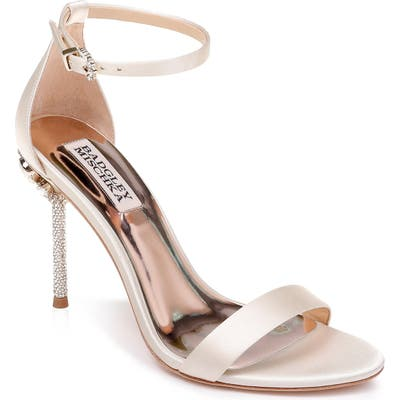 Badgley Mischka Vicia Crystal Embellished Heel Sandal- Ivory