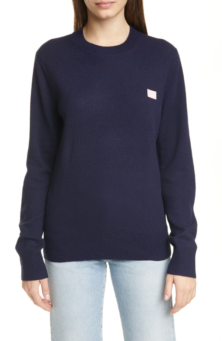ACNE STUDIOS Kalon Face Patch Wool Sweater, Main, color, NAVY/ PINK