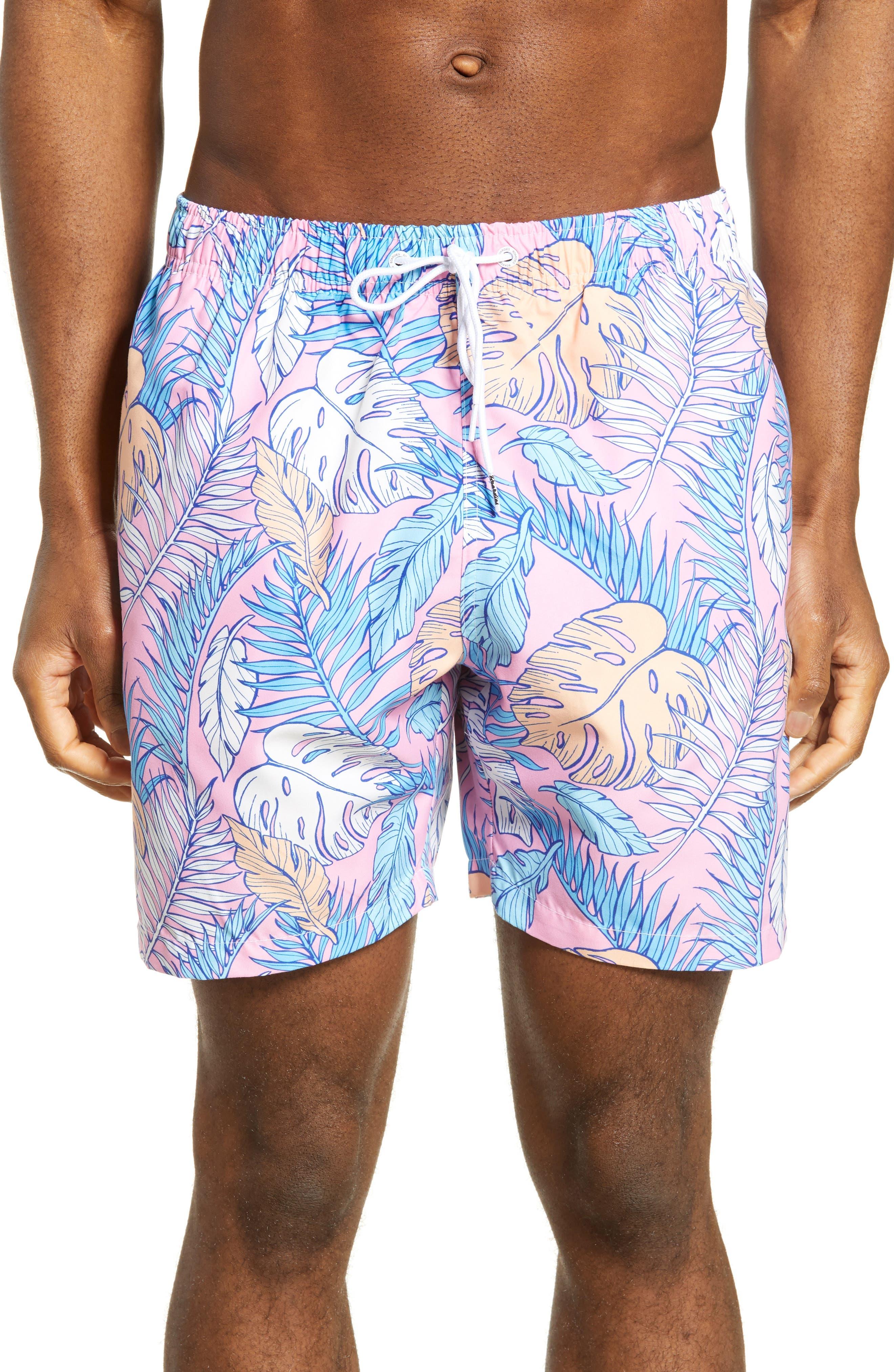 Boardies Palmtopia Print Swim Trunks, Pink