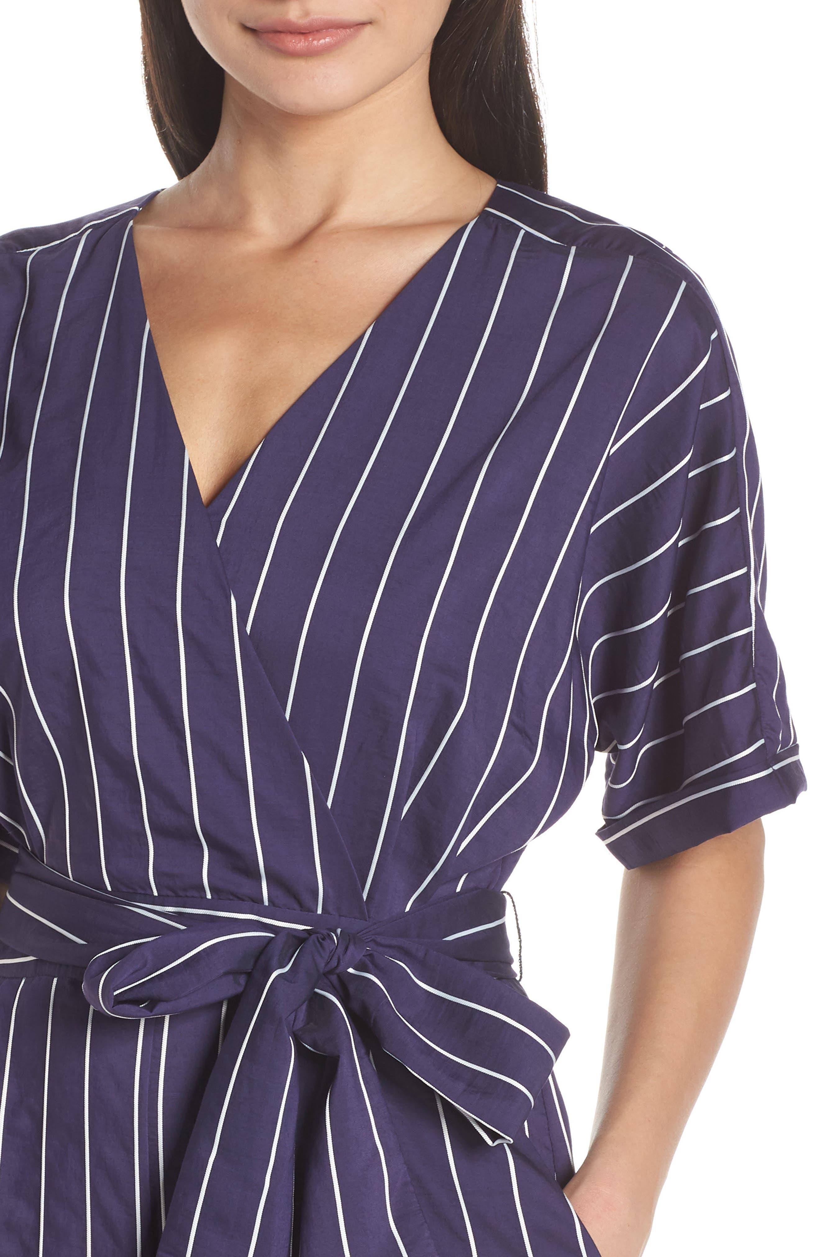 ,                             Stripe Jumpsuit,                             Alternate thumbnail 5, color,                             NAVY