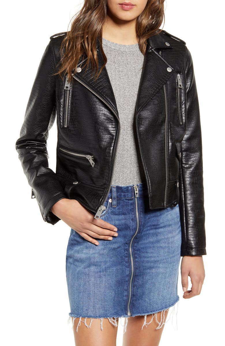 LEVI'S<SUP>®</SUP> Faux Leather Moto Jacket, Main, color, BLACK CROC