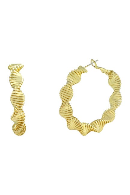 Image of Savvy Cie 14K Yellow Gold Plated Zig Zig Swag Earrings