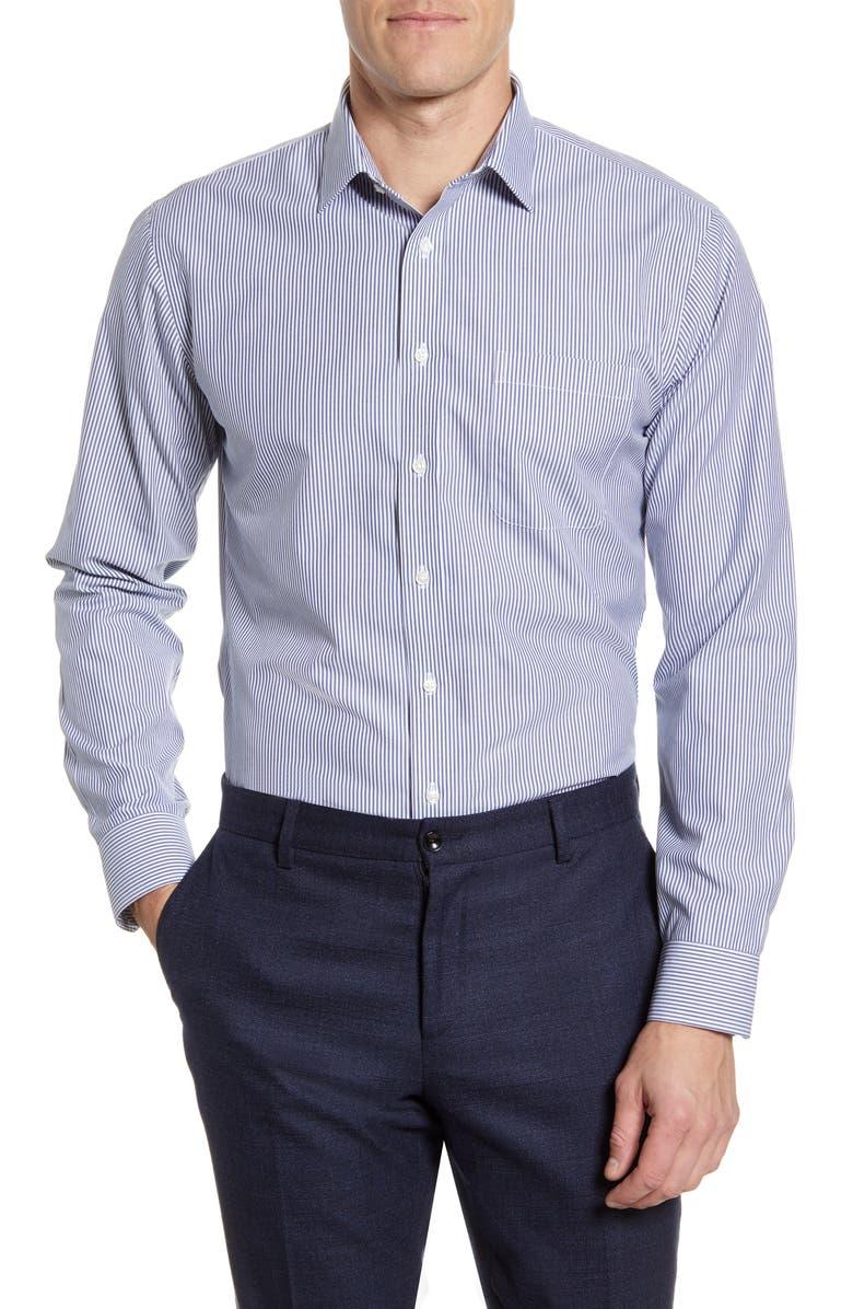 NORDSTROM Men's Shop Smartcare Trim Fit Stripe Dress Shirt, Main, color, BLUE DEPTHS