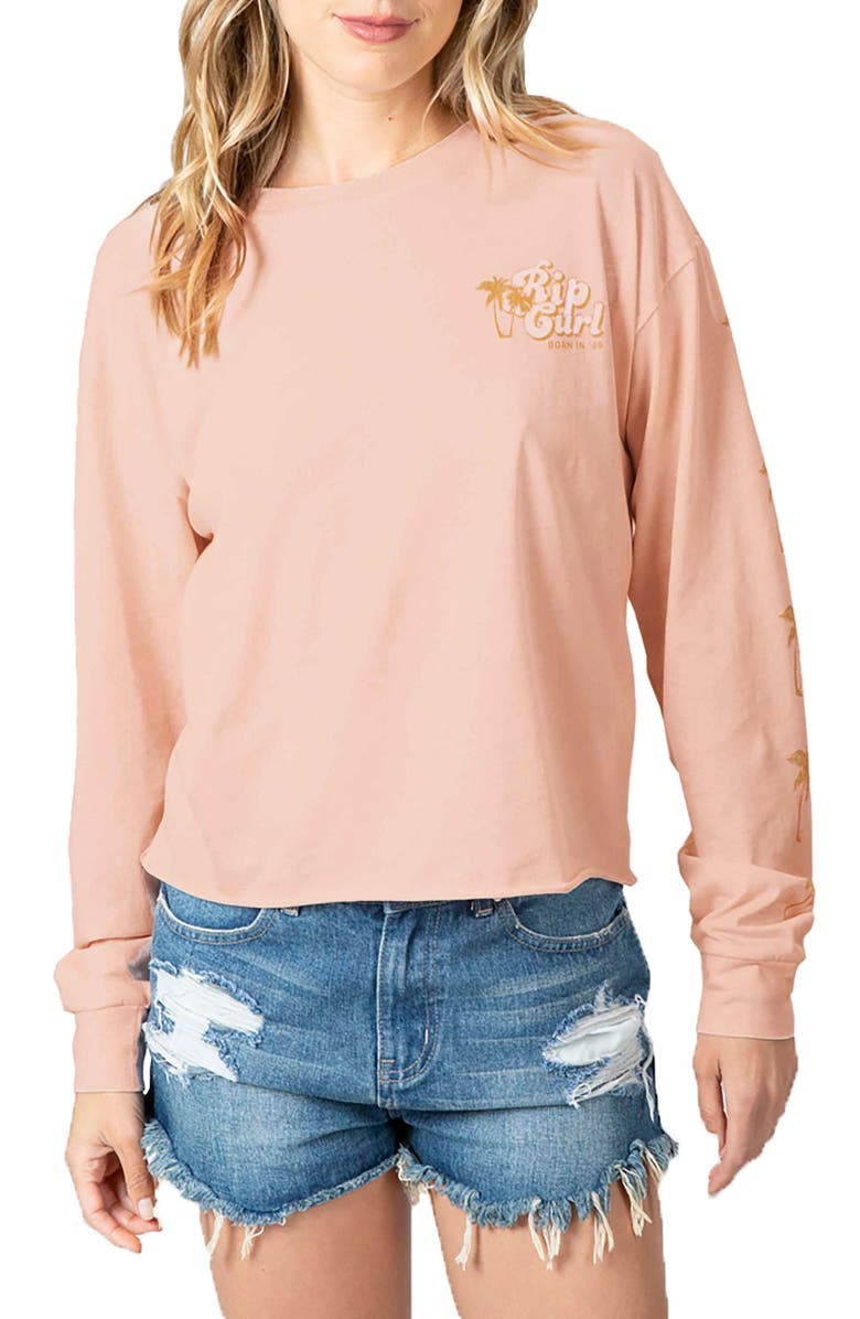 RIP CURL Under the Palms Long Sleeve Graphic Tee, Main, color, BLUSH