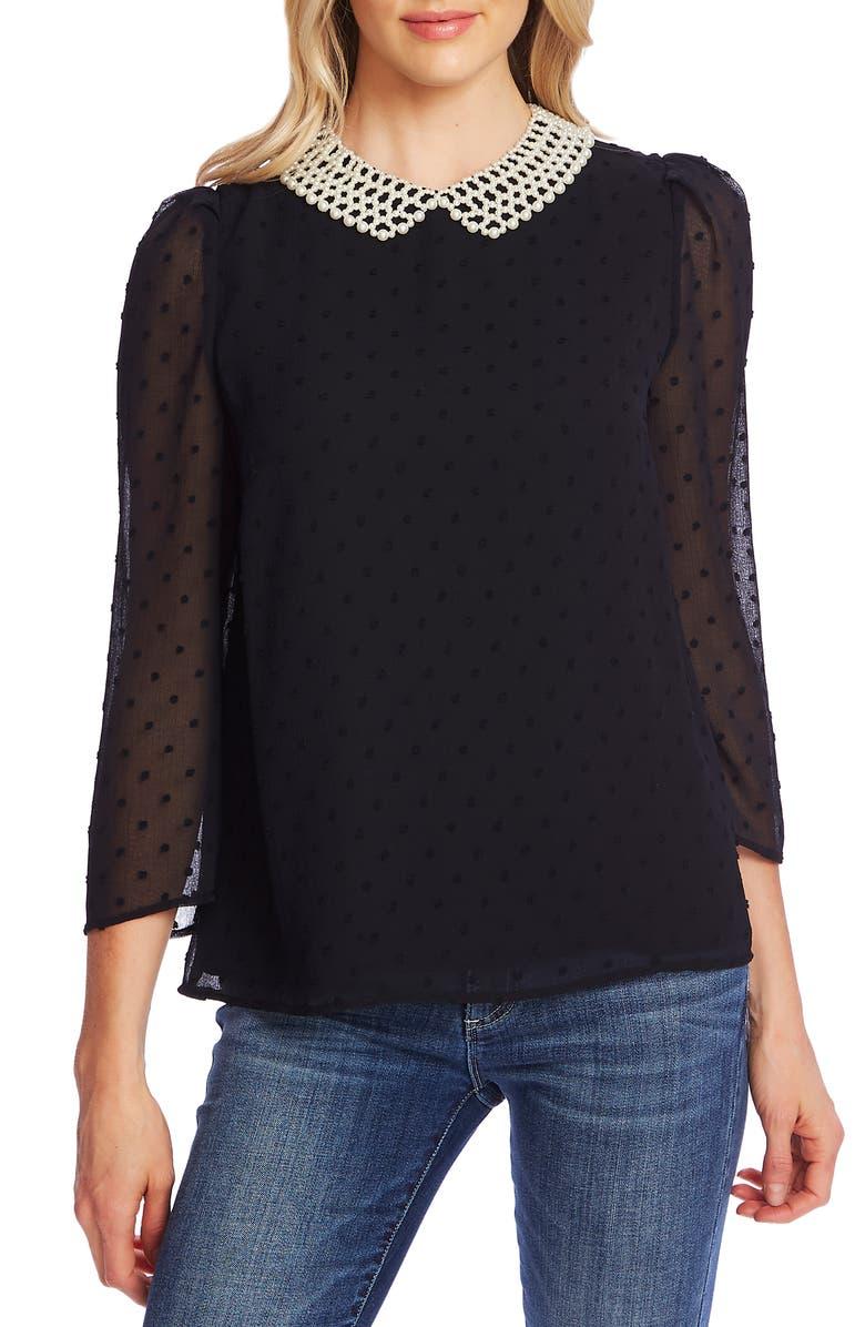 CECE Pearled Collar Clip Dot Blouse, Main, color, RICH BLACK