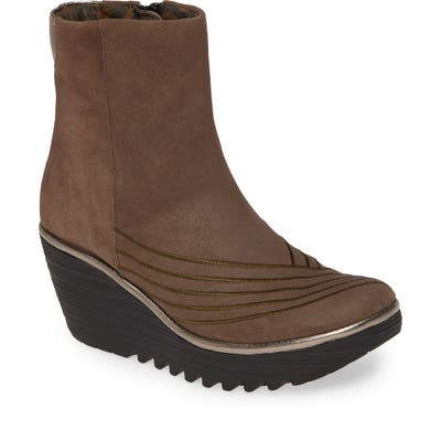 Fly London Yeni Platform Wedge Bootie - Brown
