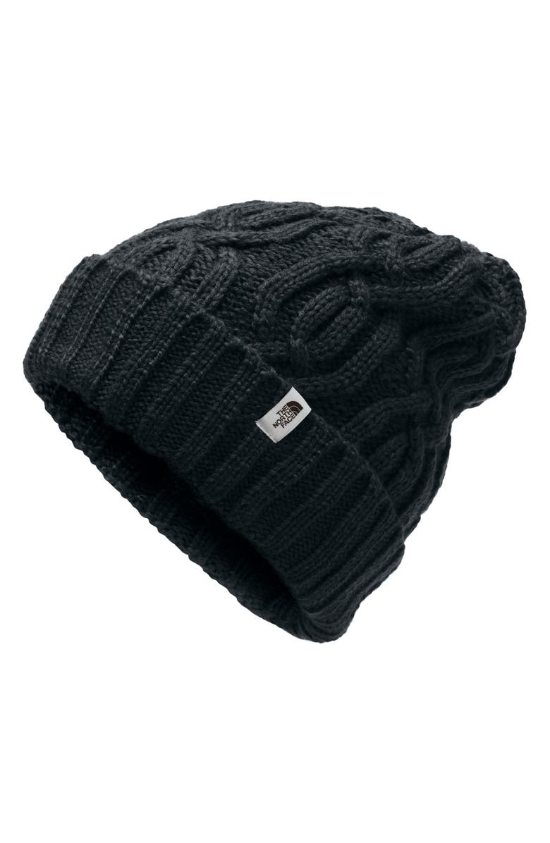 THE NORTH FACE Minna Cable Knit Beanie, Main, color, TNF BLACK