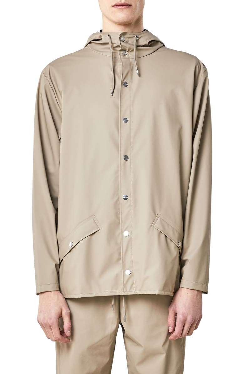 RAINS Lightweight Hooded Rain Jacket, Main, color, BEIGE