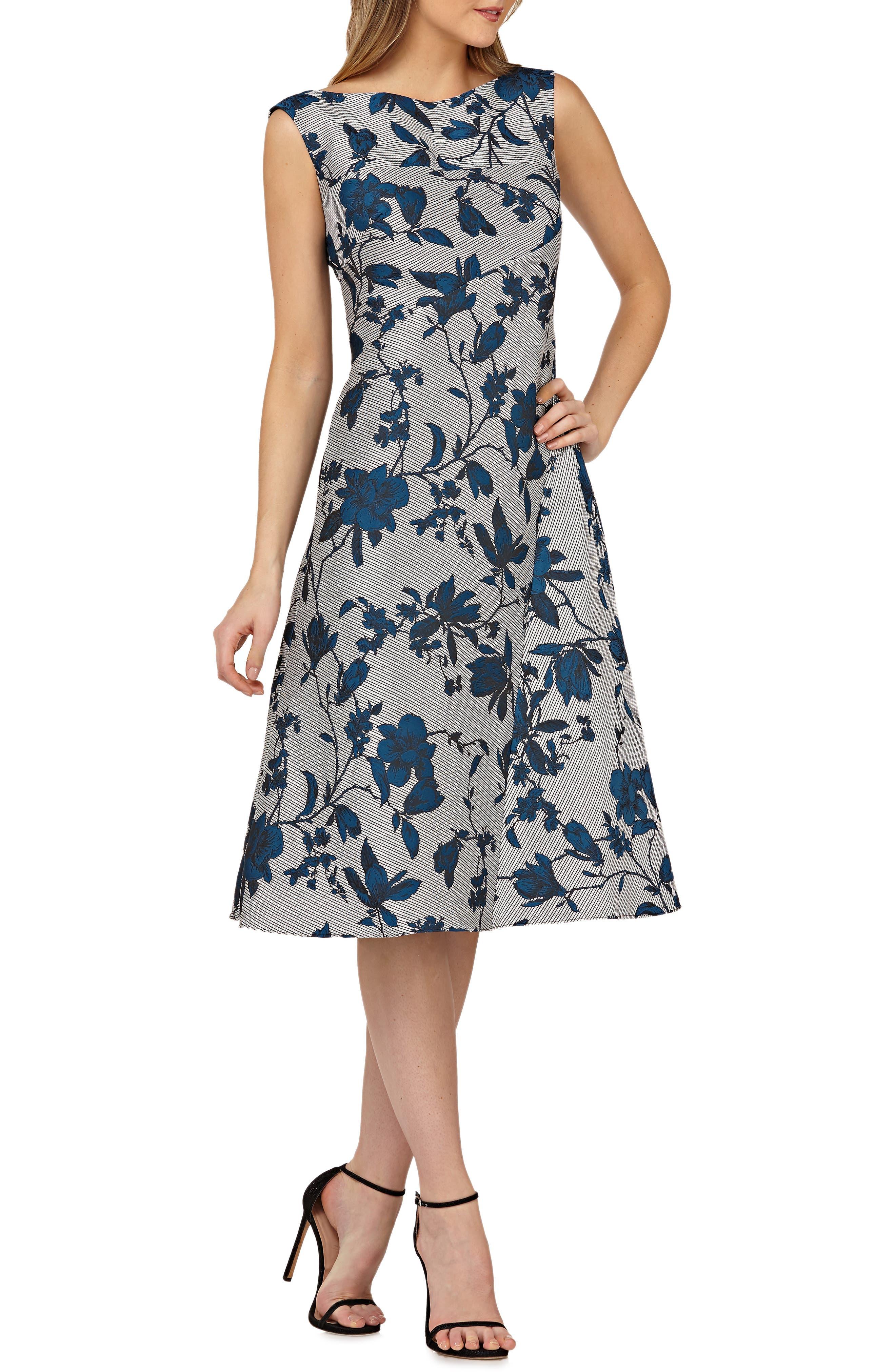 Kay Unger Bateau Neck Tea-Length Dress, Metallic