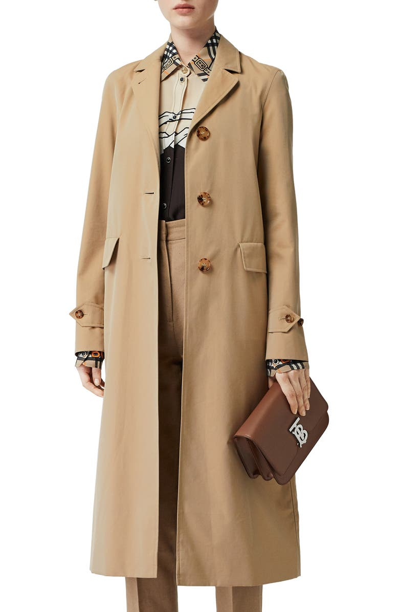 BURBERRY Farringdon Cotton Gabardine Car Coat, Main, color, HONEY