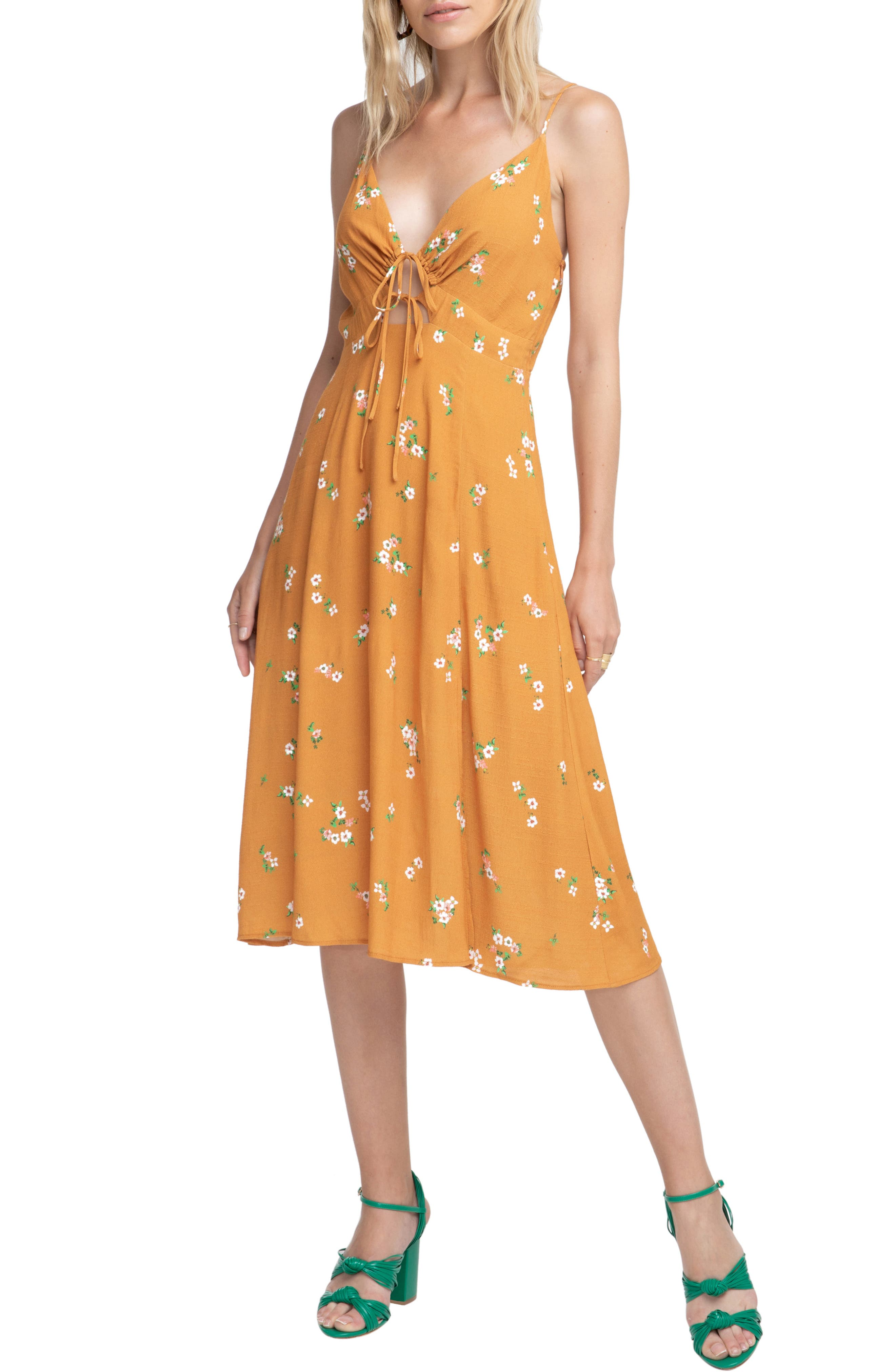 Astr The Label Collin Midi Dress, Orange