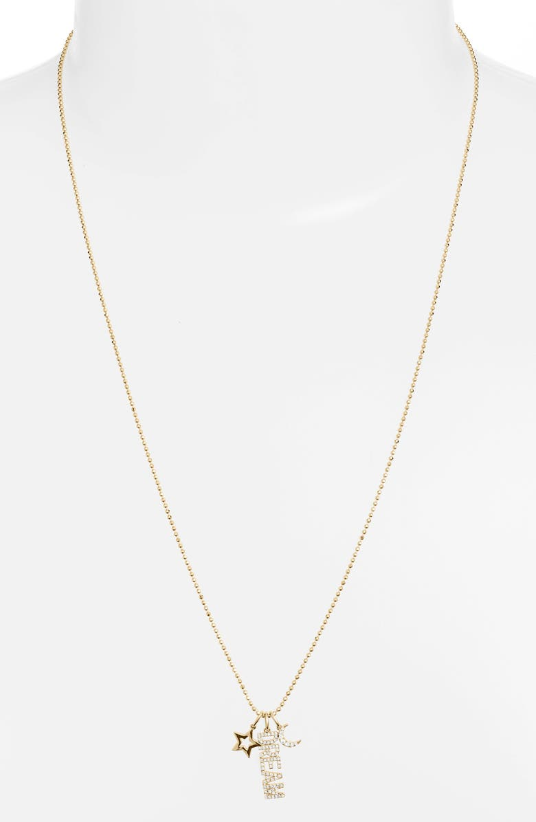 EF COLLECTION Diamond Dream Charm Necklace, Main, color, YELLOW GOLD/ DIAMOND