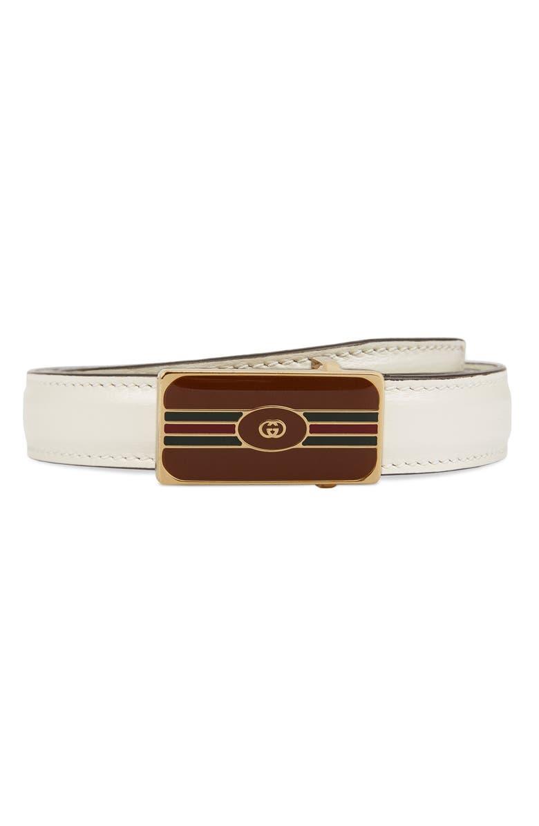 GUCCI W.18 Enamel Buckle Belt, Main, color, 100