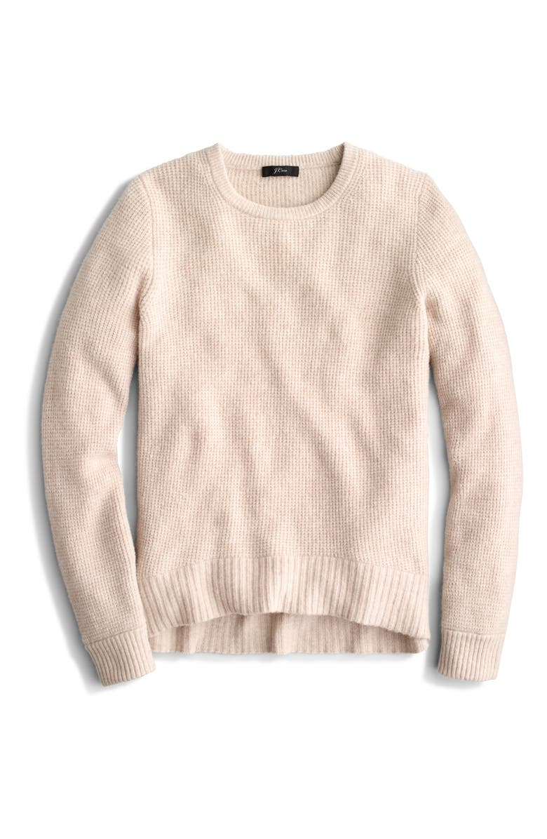 J.CREW New High/Low Waffle Sweater, Main, color, HEATHER STONE
