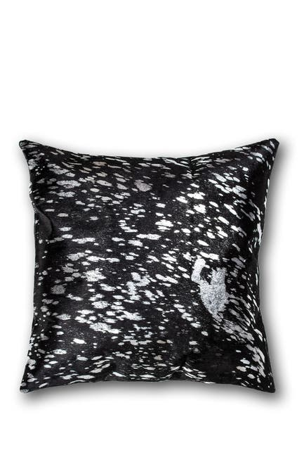 """Image of Natural Torino Genuine Cowhide Pillow - 18""""x18"""" - Black/Silver"""