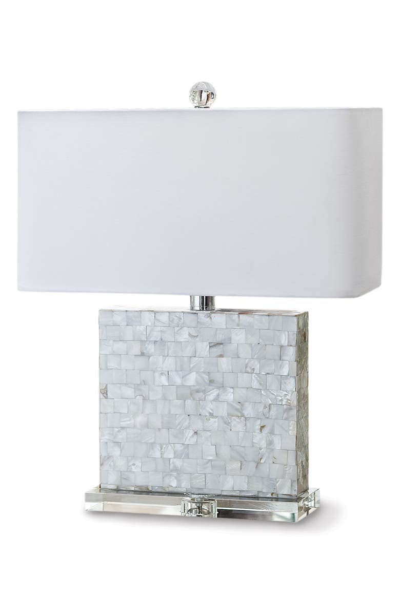REGINA ANDREW DESIGN Bliss Mother-of-Pearl Table Lamp, Main, color, SILVER/ WHITE