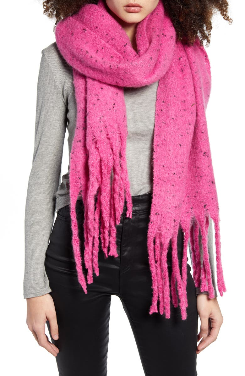 BP. Speckled Fringe Trim Muffler, Main, color, PINK CYCLAMEN