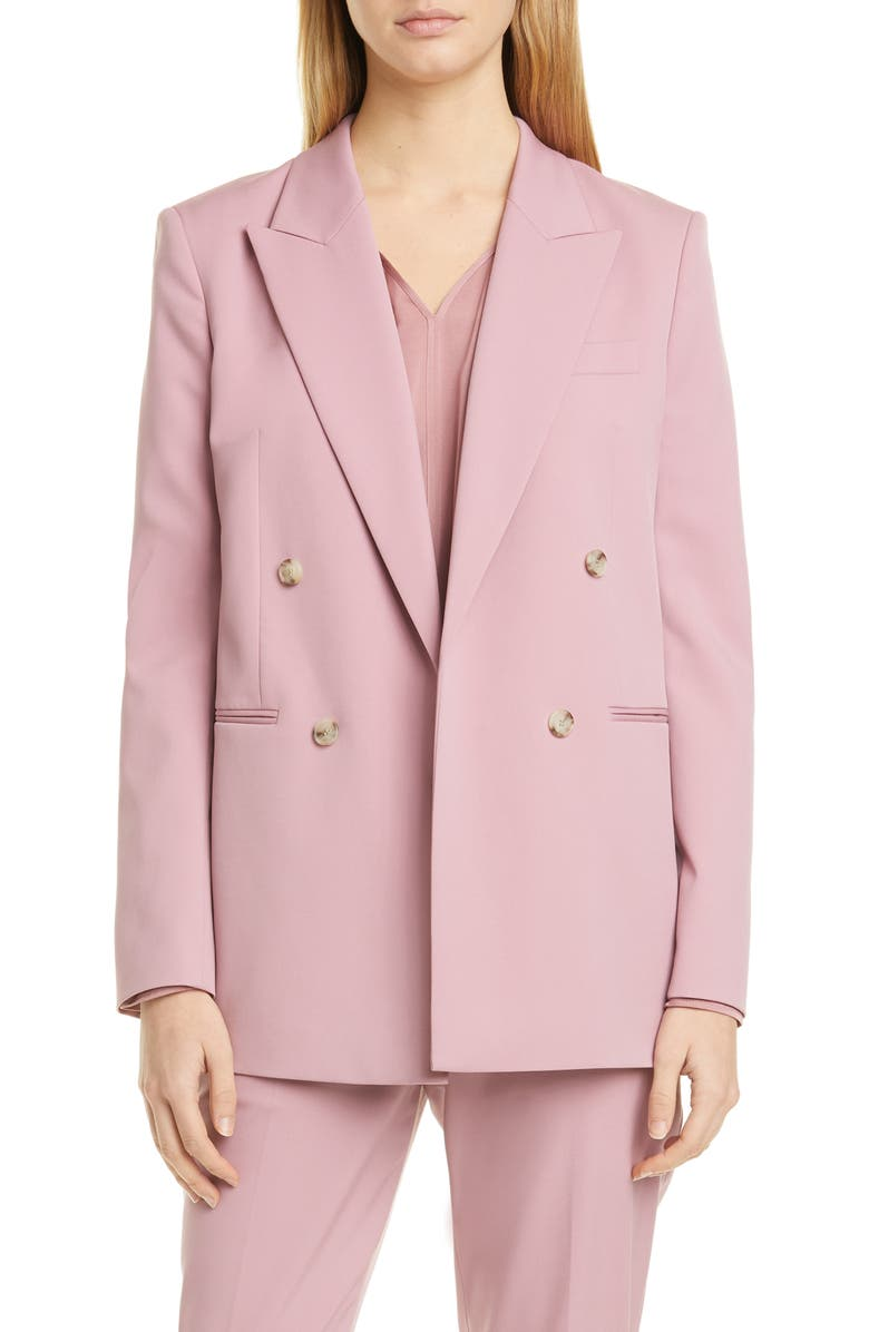 BOSS Jericoa Stretch Wool Double Breasted Blazer, Main, color, PETAL