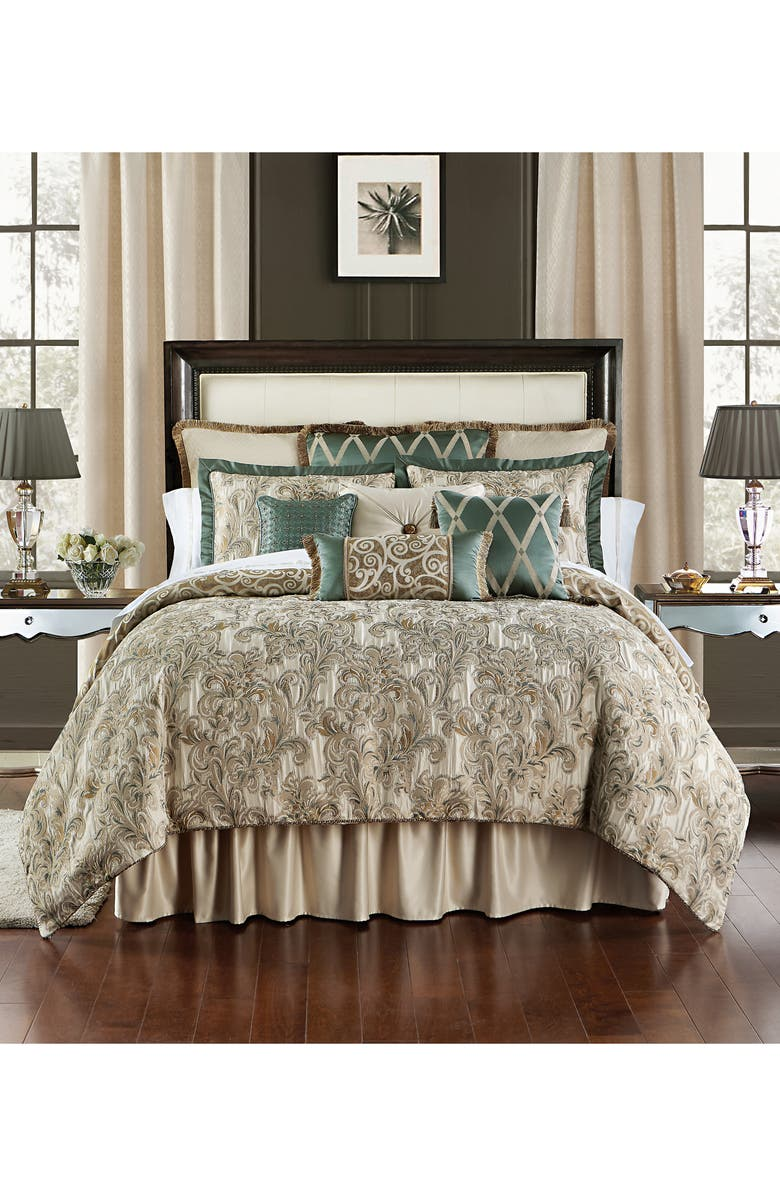 WATERFORD Anora Comforter, Sham & Bed Skirt Set, Main, color, BRASS/ JADE
