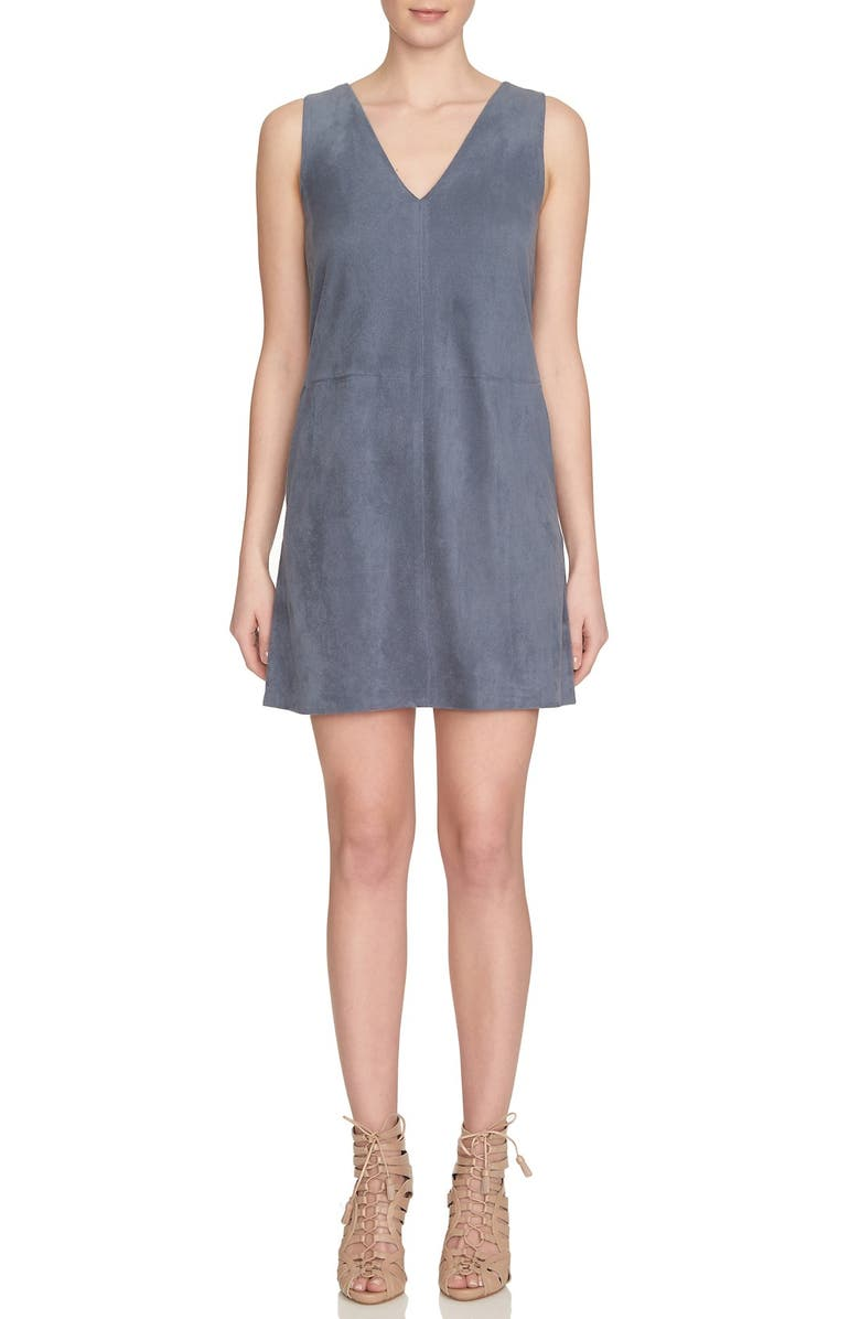1.STATE Faux Suede Shift Dress, Main, color, 067
