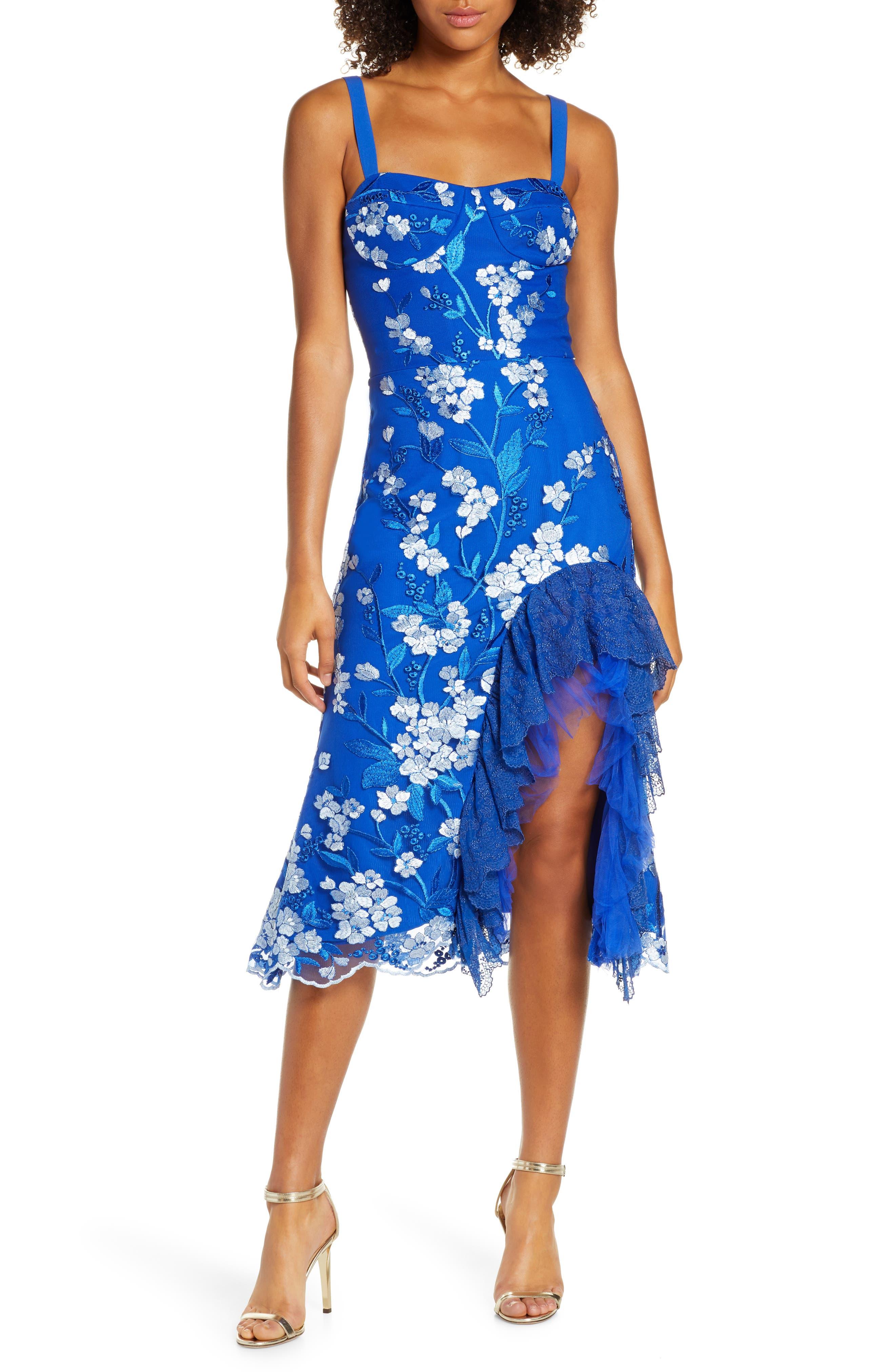 Bronx And Banco Tiffany Ruffle Dress, Blue