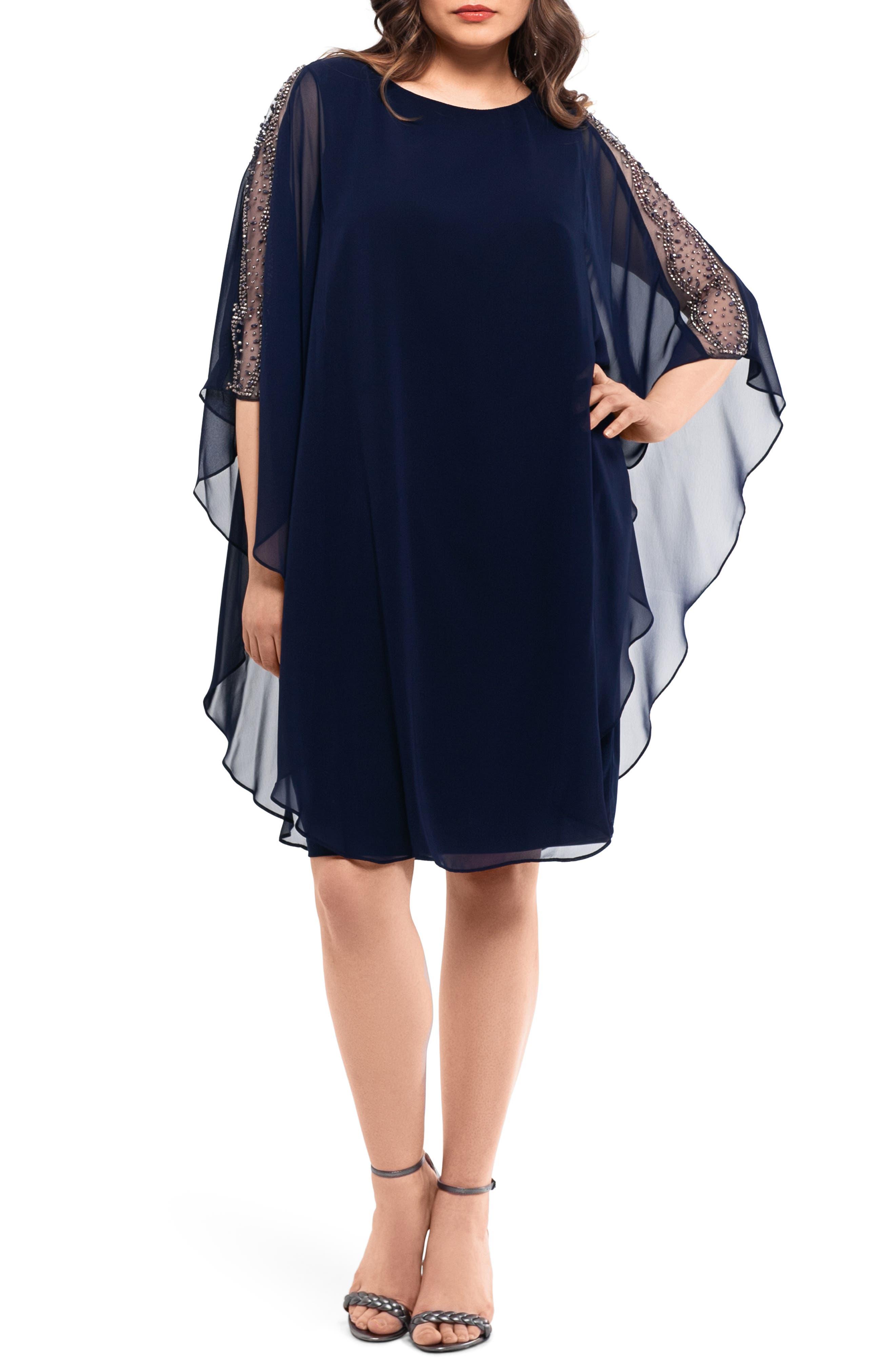 Plus Size Xscape Chiffon Overlay Beaded Sleeve Cocktail Dress, Blue