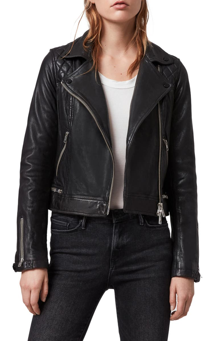 ALLSAINTS Conroy Leather Biker Jacket, Main, color, 415