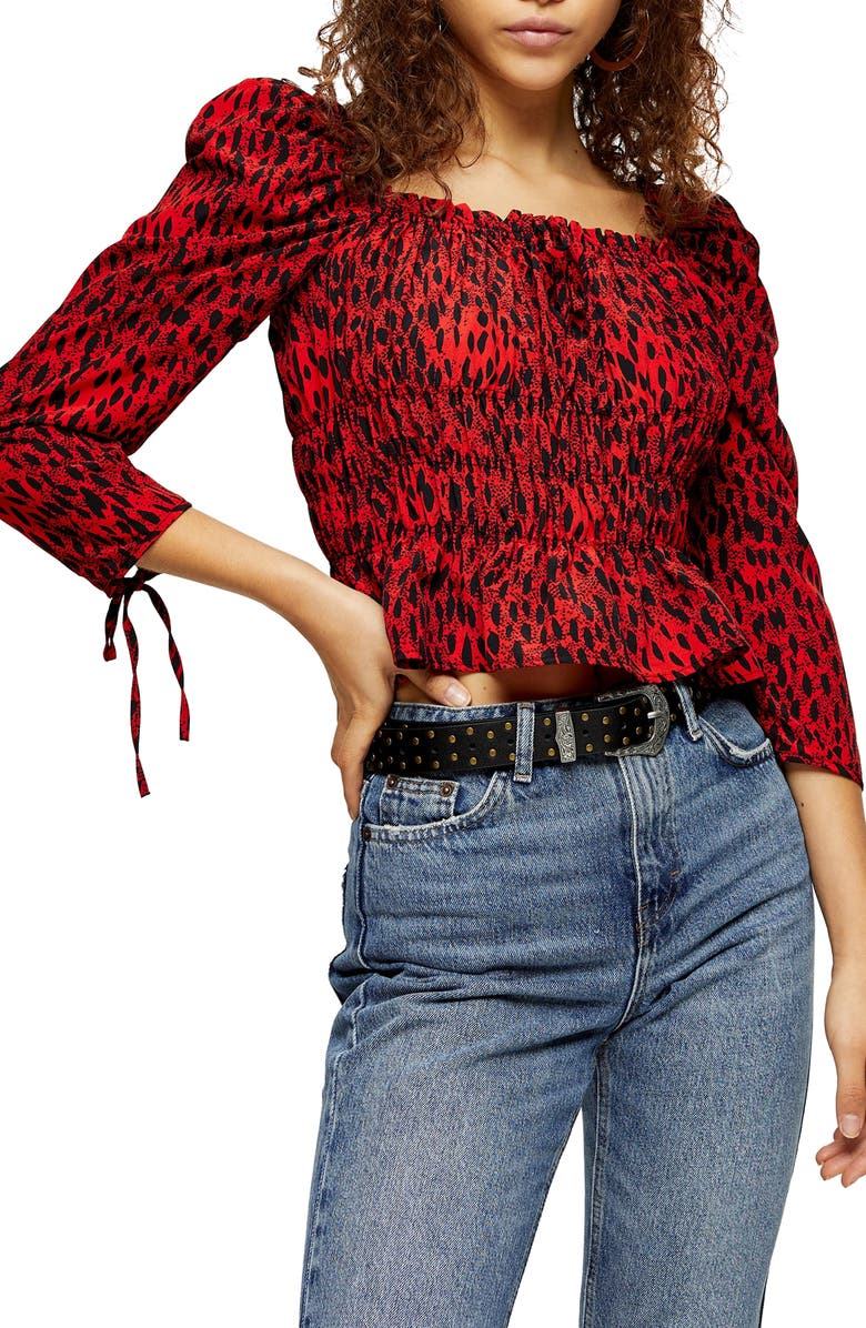 TOPSHOP Ruched Leopard Print Prairie Blouse, Main, color, RED MULTI