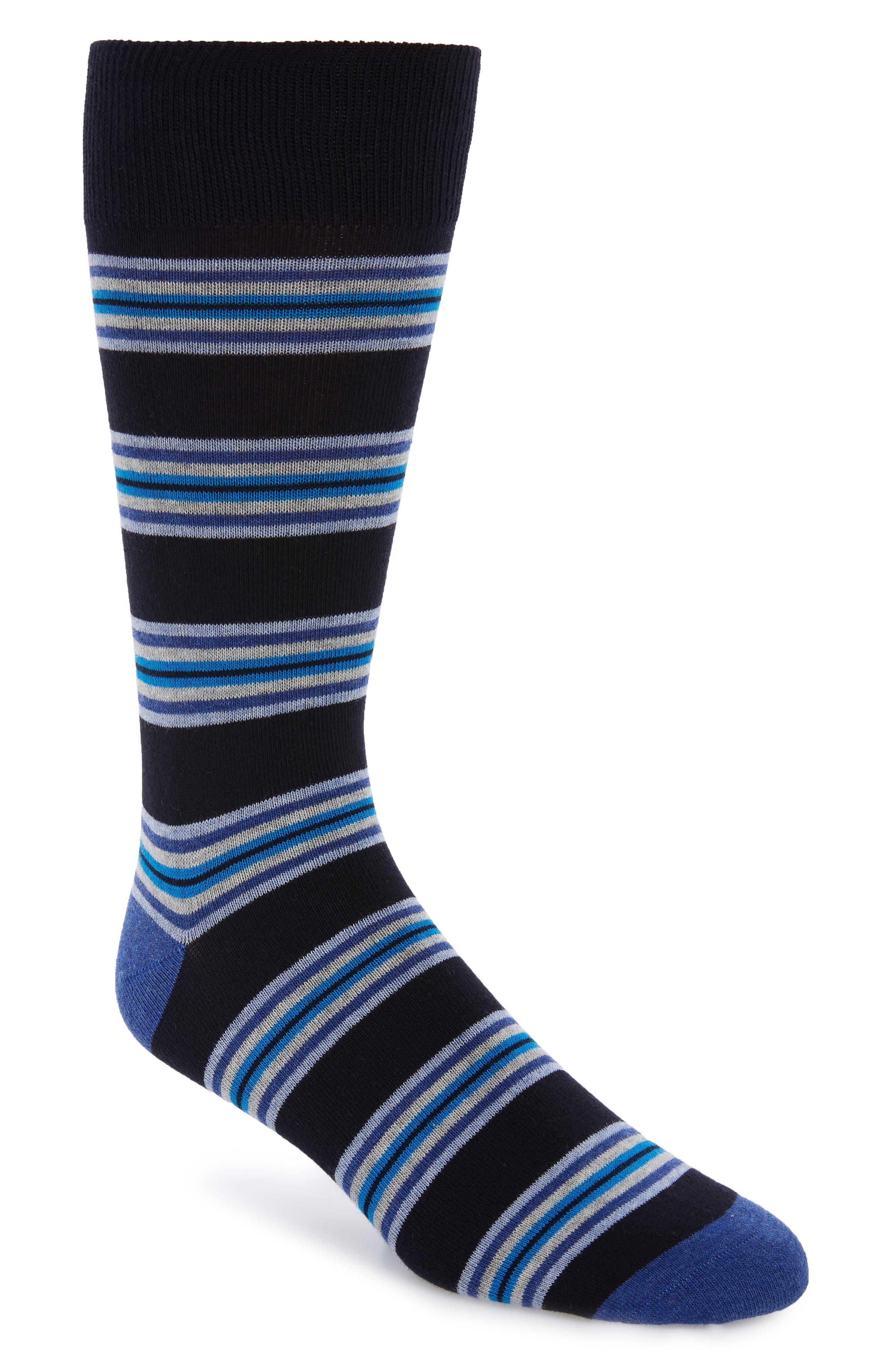 Rowes Stripe Socks, Main, color, NAVY/ BLUE