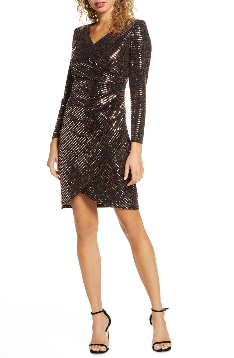 MORGAN & CO. Sequin Embellished Long Sleeve Faux Wrap Dress, Main, color, BLACK/ BRONZE