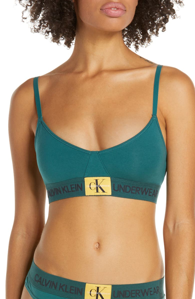 CALVIN KLEIN Logo Bralette, Main, color, ANTITHESIS