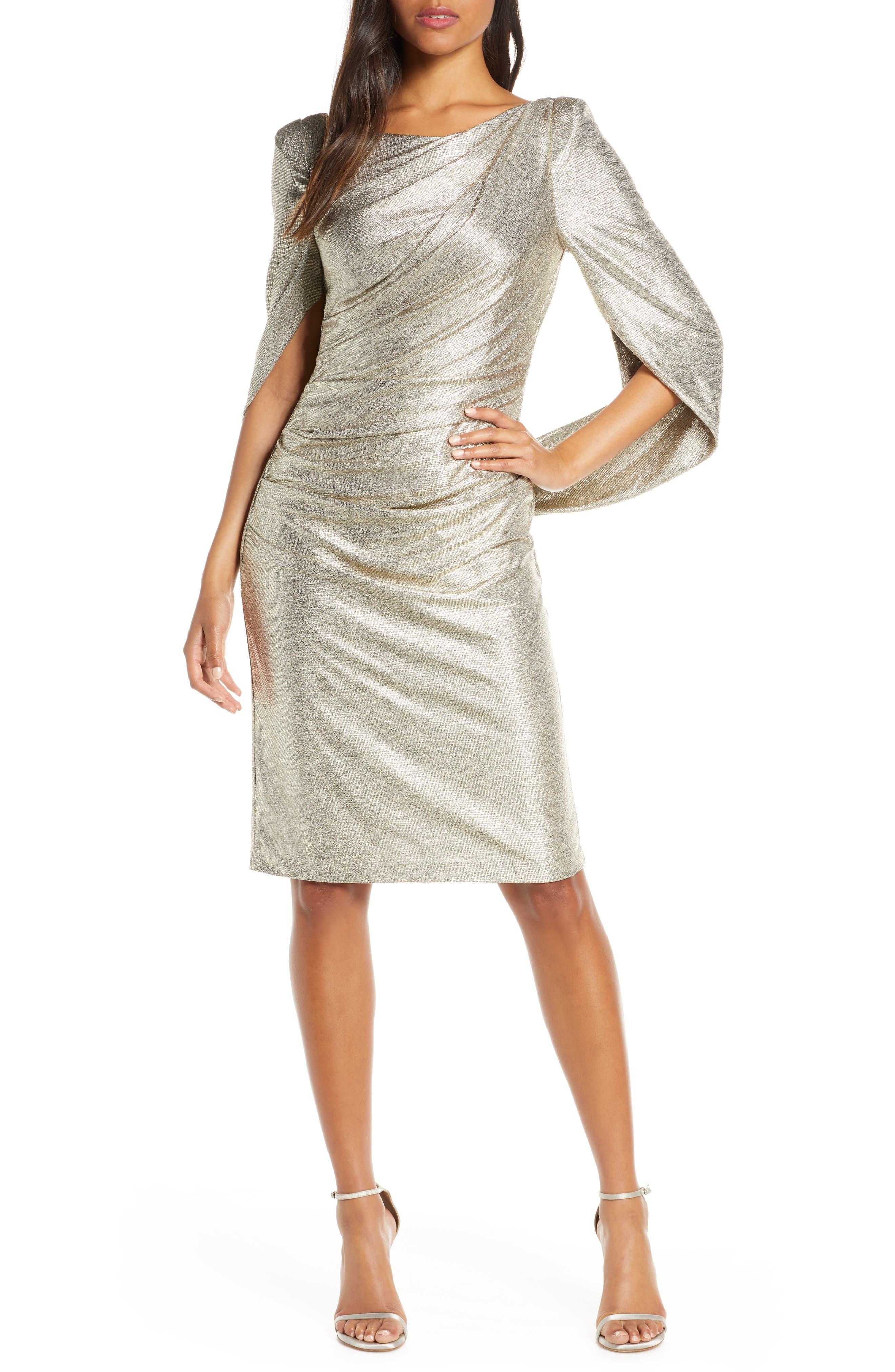 Eliza J Metallic Cape Cocktail Dress, Metallic