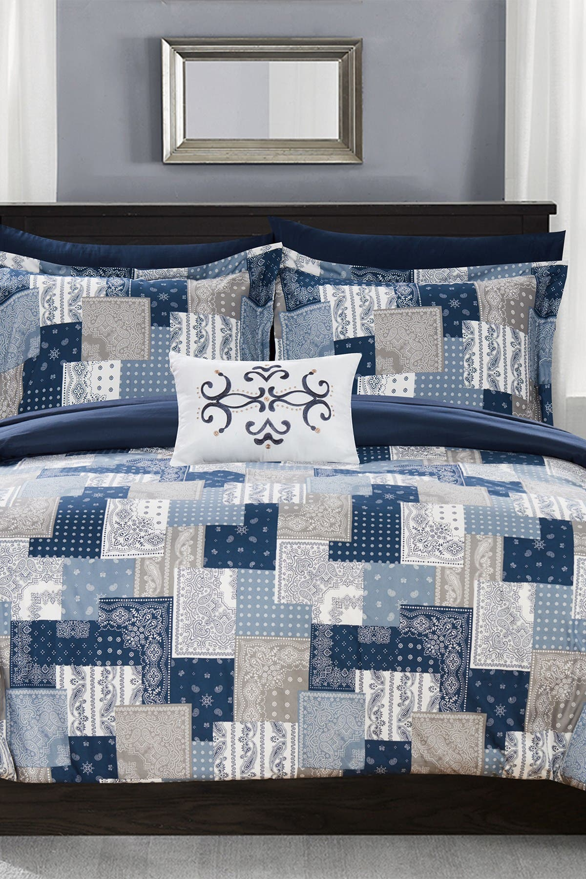 Image of Chic Home Bedding Twin Dei Reversible Bohemian Bed in a Bag Comforter Set - Blue